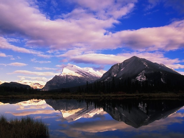 Mount Rundle Reflected On Vermillion Lakes At Sunset, Canada